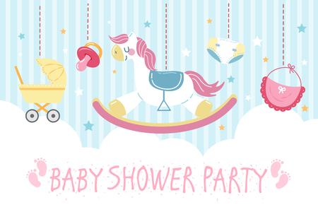 süße Cartoon-Babyparty-Einladungskarte mit Spielzeug