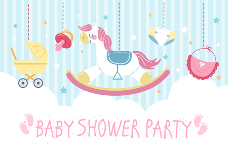tarjeta de invitación de baby shower de dibujos animados lindo con juguetes