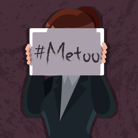 woman hold placard write metoo cover her face