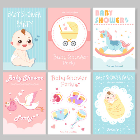 cute cartoon baby shower invitation card and posters in pastel colors