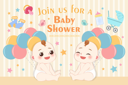 cute cartoon baby shower invitation card with two babies on yellow background