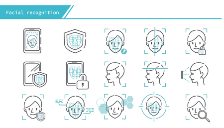 face recognition concept icon set - Simple Line Series 矢量图像