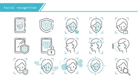 face recognition concept icon set - Simple Line Series Illustration