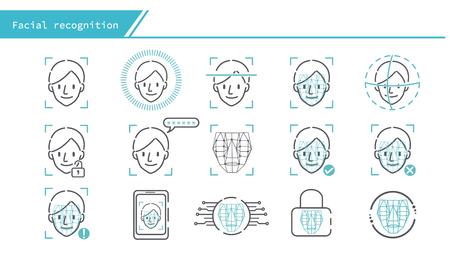 Conjunto de iconos de concepto de reconocimiento facial - Serie de línea simple