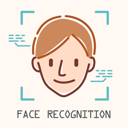facial recognition concept - scan man face and portrait Vectores