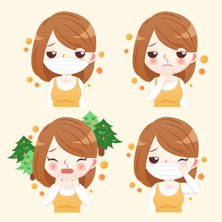 girl with pollen allergy and feature of hay fever Illustration