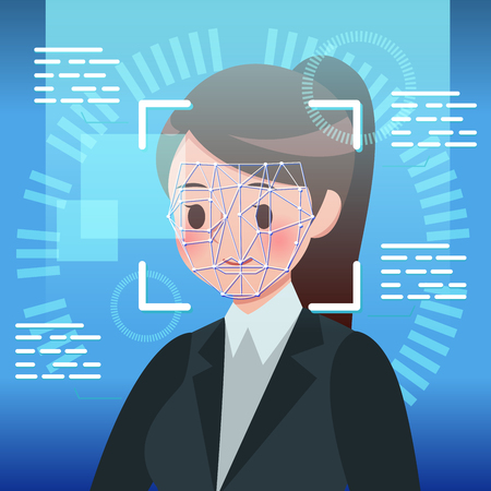 Cartoon business woman with biometric facial identification