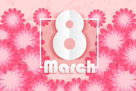 cartoon happy womans day with flower on the pink background