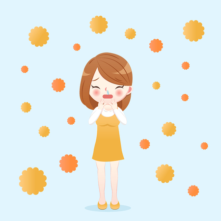 cartoon woman running nose with hay fever concept on the blue background