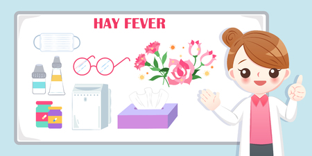 cute cartoon doctor introduce feature of hay fever on the blue background 向量圖像