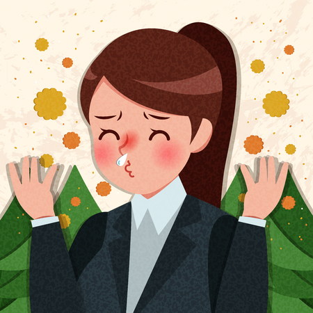 Woman being allergic and having hay fever with yellow background