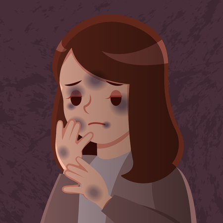 cartoon violence against woman feel scared on dark background