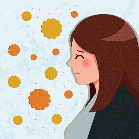 cartoon woman with hay fever concept on the blue background Illustration