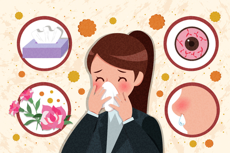 woman with pollen allergy and feature of hay fever