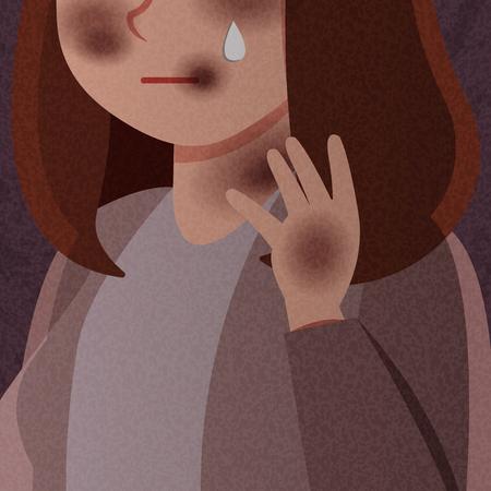 cartoon violence against woman crying on dark background 矢量图像