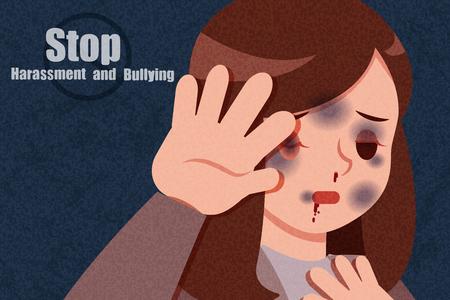violencia de dibujos animados contra la mujer se siente asustada sobre fondo oscuro
