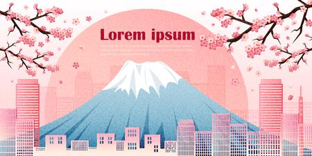 Panorama travel postcard tour advertising with sakura of Japan