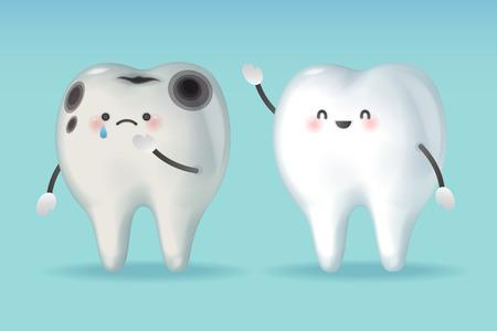 dent avec problème de carie sur fond vert
