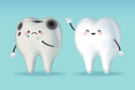 tooth with decay problem on the green background