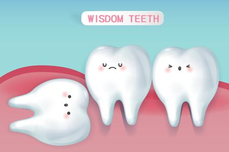cute cartoon wisdom teeth with health concept Illustration