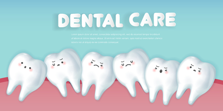 cute cartoon crowding tooth concept on green background