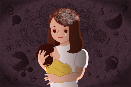 postpartum depression concept - mother feel depressed with baby with the dark background Vetores