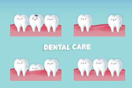 cute cartoon healthy tooth with decay problem Illustration
