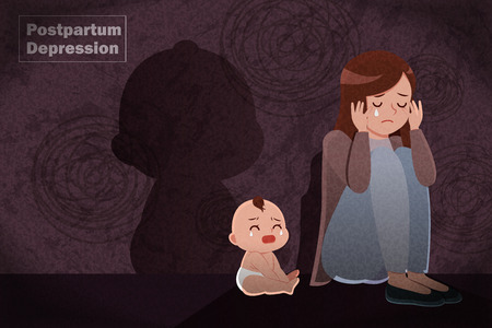 postpartum depression concept - mother feel depressed with baby with the dark background