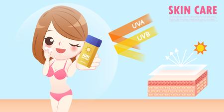 cute cartoon woman wear sunscreen on the blue background