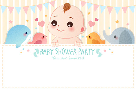 cute cartoon baby shower invitation card with empty copy space