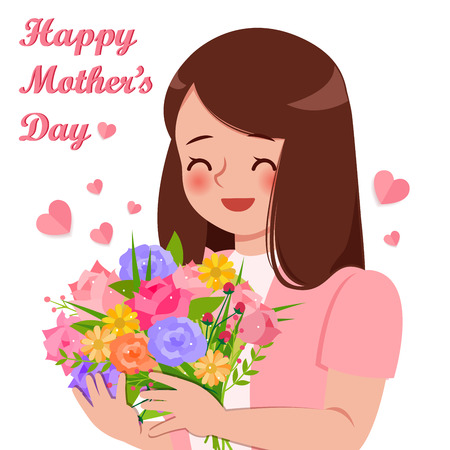 Cartoon woman hug the flower with mothers day concept