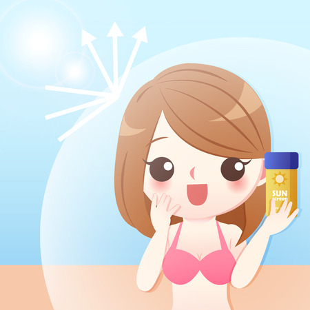 cute cartoon woman with sunscreen protect her skin in the summer Illustration