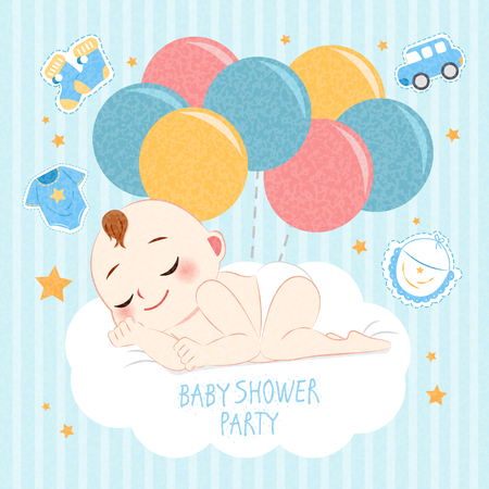 cartoon baby shower concept on the blue background