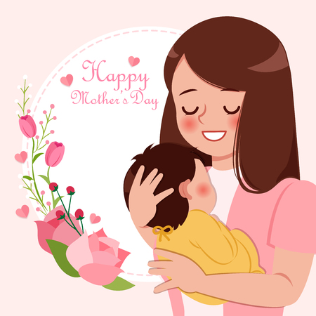 Cartoon woman hug her baby with mothers day concept