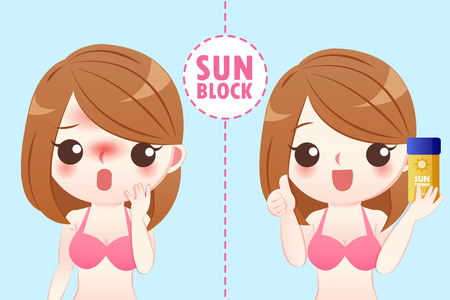 cute cartoon woman with sunscreen and sunburn on blue background