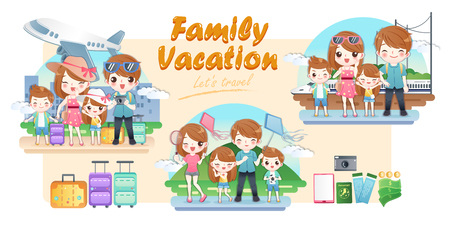 cute cartoon family travel happily on summer vacation