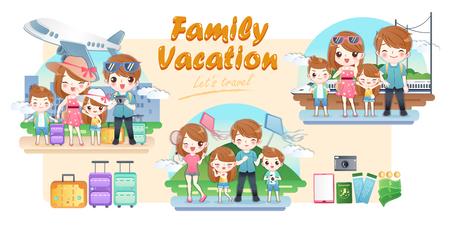 cute cartoon family travel happily on summer vacation
