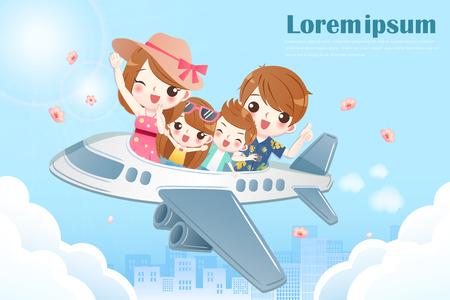 familie neemt het vliegtuig en reist gelukkig Vector Illustratie