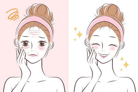 the cute cartoon girl with wrinkle and she is younger after Vector Illustration