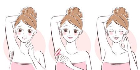 femme de bande dessinée enlever les poils sous ses bras