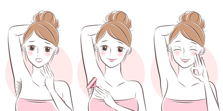 cartoon woman remove hair under her arms