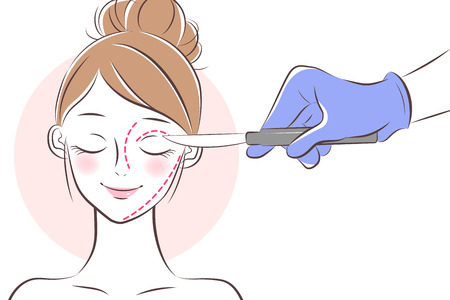 the cartoon beauty  face cosmetic surgery concept Illustration