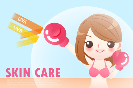 the cute cartoon girl with sunscreen protected Illustration
