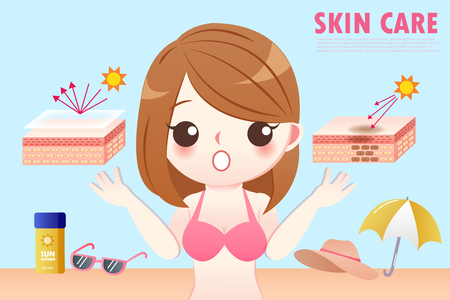 the cute cartoon girl has skincare protection with sunsreen