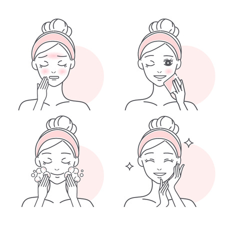 beauty cartoon woman with oil skin on the white background