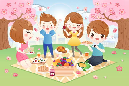 cute cartoon family at picnic with cherry blossoms