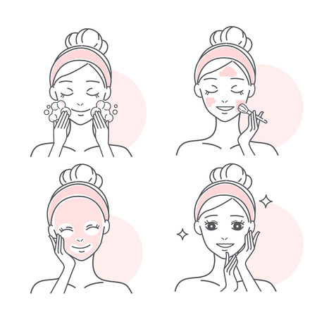 beauty cartoon skin care woman on the white background Illustration