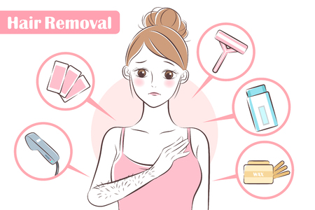 upset woman with some cute cartoon tools about hair removal Иллюстрация