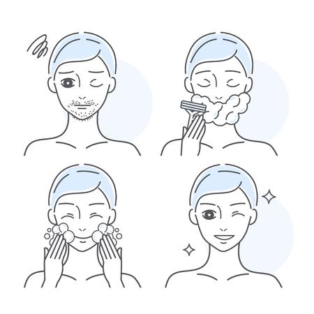 Step by step of a man shaving his facial hair Stock Vector - 120780433