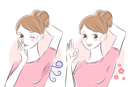 beauty cartoon woman with body odor problem Çizim